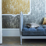 Harlequin Palmetto collection Gold, grey and blue