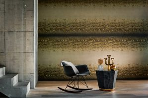 Anthology Definition Wallpaper-Diffusion-Golden-Stripe-Chair