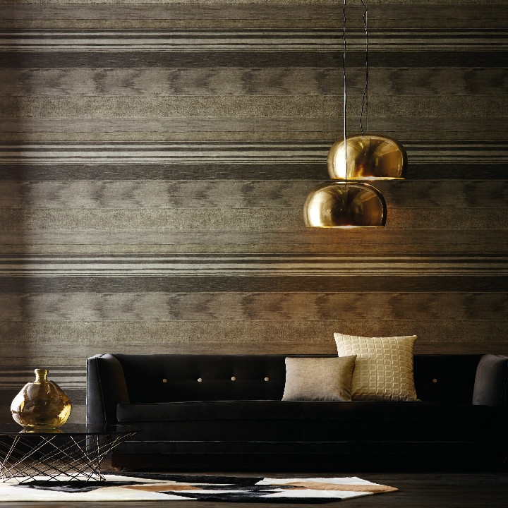 From the new collection by Harlequin. Antology 02 is a complex motif combinging different surface elements such as wood and metal layered together to create a distressed texture. The pattern is called Stucco and is available at Dean & Co.