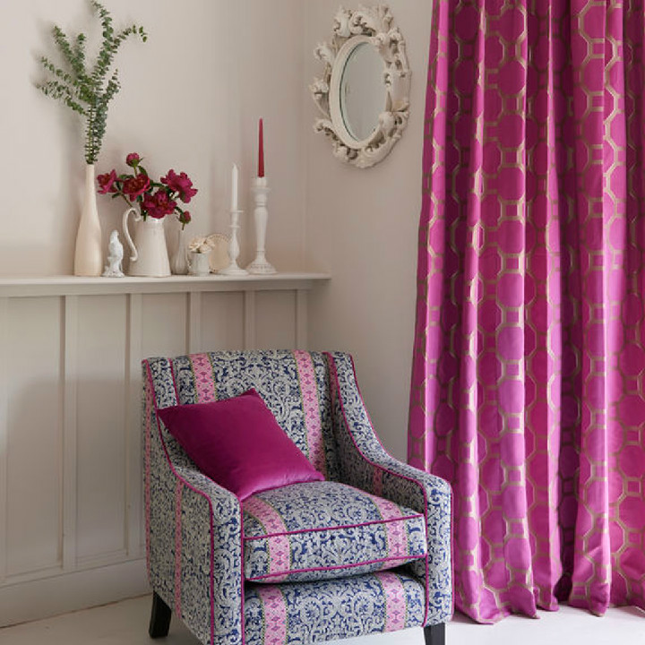 Clarke & Clarke Salon collection available at Dean & co. Fabrics include Vendome Violet, Palais Violet and Musar Navy.