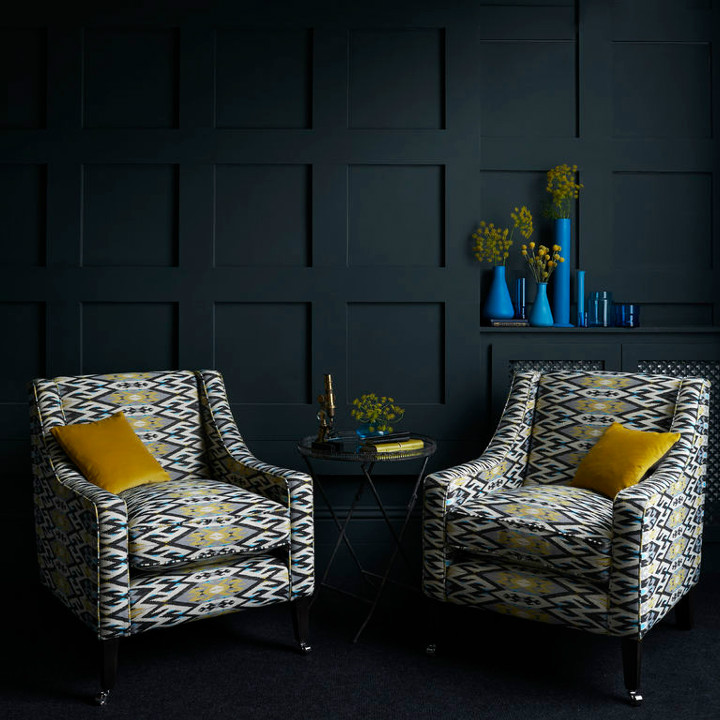 Fabric from the new Salon collection by Clarke & Clarke. Chairs are covered with Kilim Noir fabric and cushions are in Palais Chartreuse. All available at Dean & co.