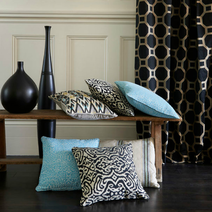 The new collection from Clarke & Clarke. Fabrics from the Salon range include Vendome Noir (curtains), Catherine Aqua, Sablon Passion, Kilim Noir and Maroc Noir (cushions). All available at Dean & Co.